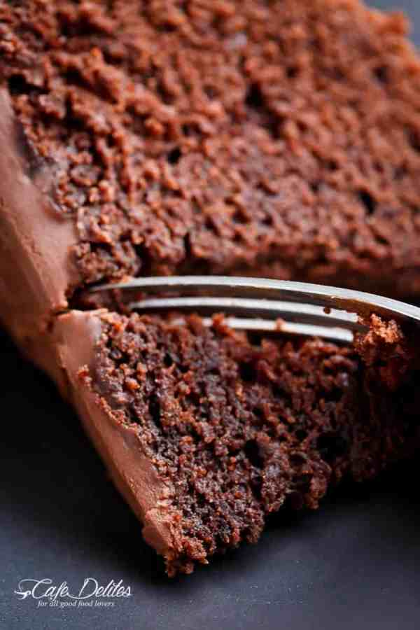 The most amazing, ONE BOWL, BEST Fudgy Chocolate Cake is so rich and decadent, with the perfect balance of fluffy and fudgy![br] An ORIGINAL Cafe Delites RECIPE! | https://cafedelites.com