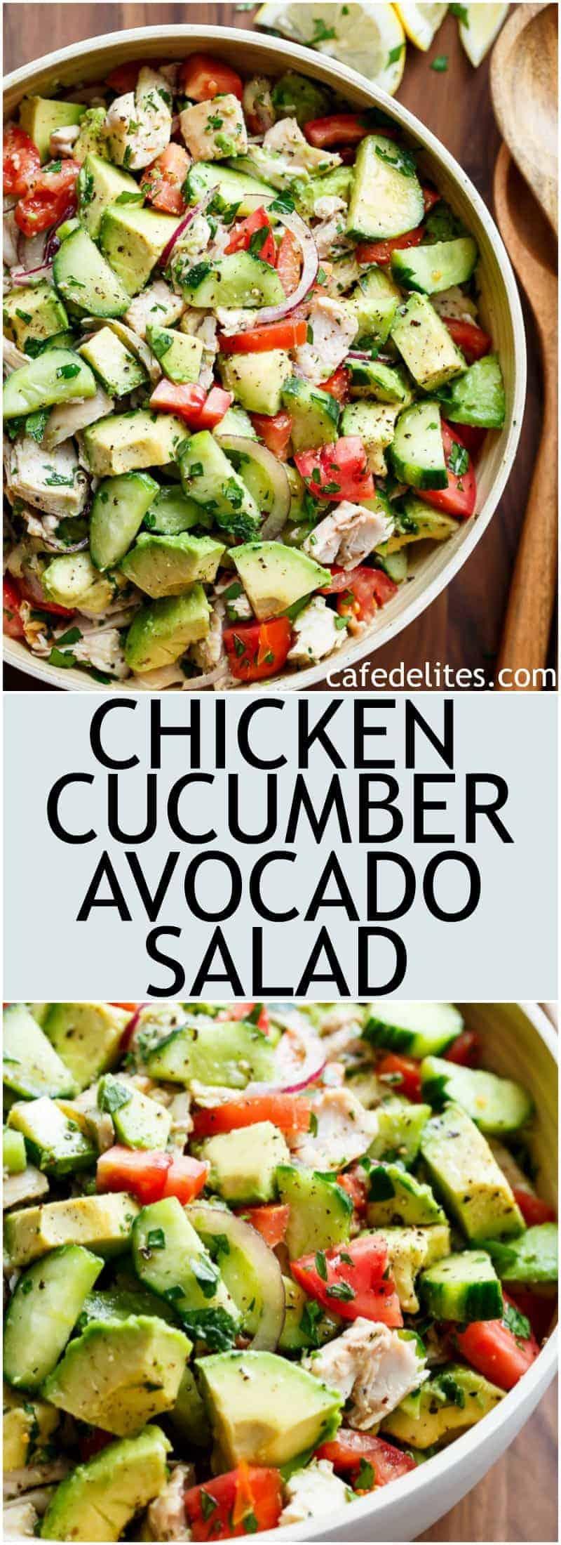 Chicken Cucumber Avocado Salad No Cook Cafe Delites