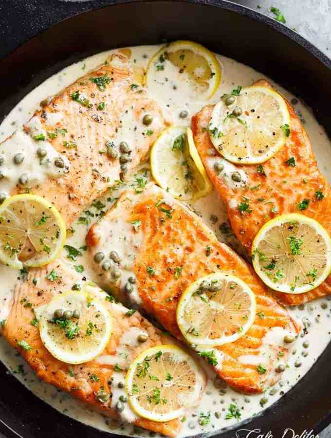 Creamy Lemon Garlic Salmon Piccata