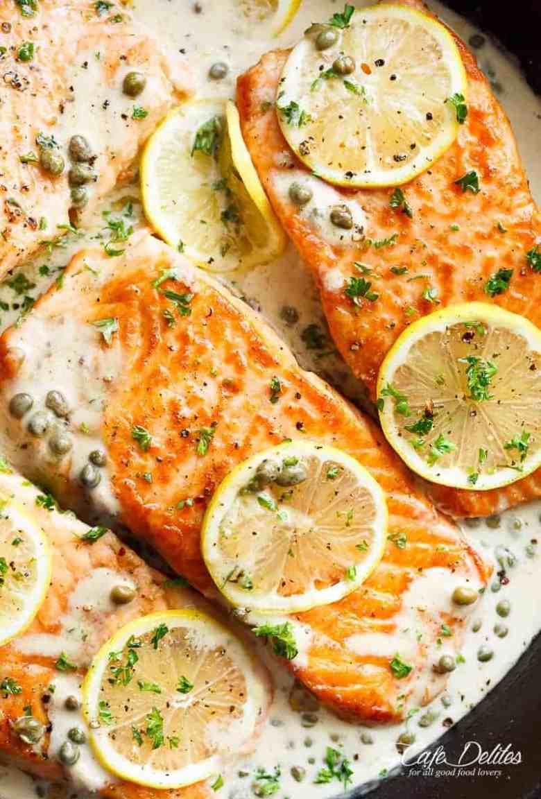 Creamy Lemon Garlic Salmon Piccata