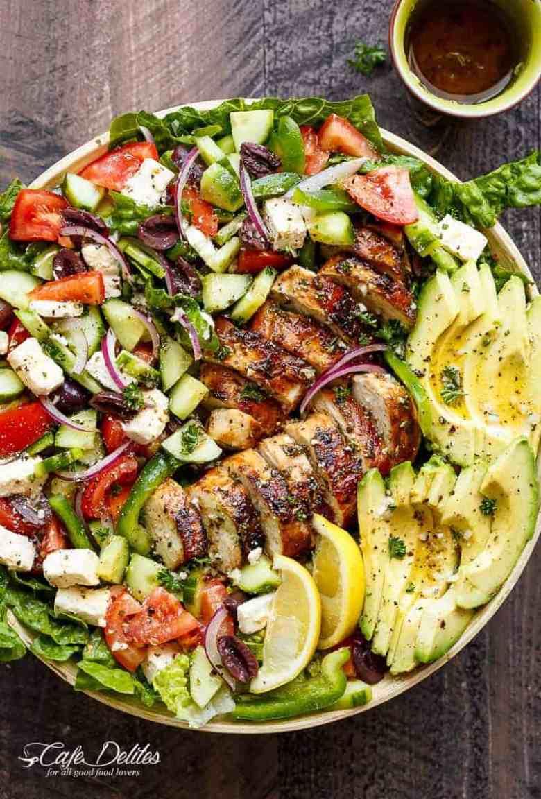 Loaded Greek Chicken Avocado Salad