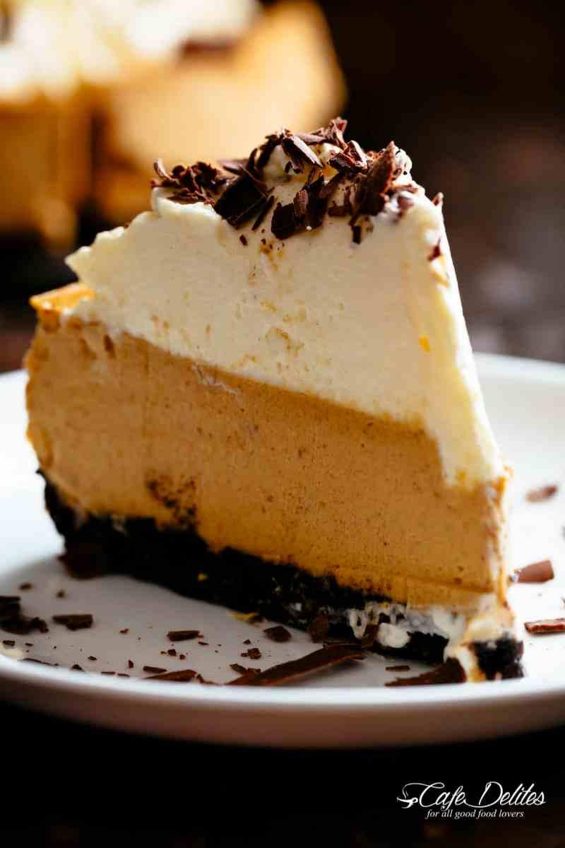 Slice of Pumpkin Cheesecake | cafedelites.com