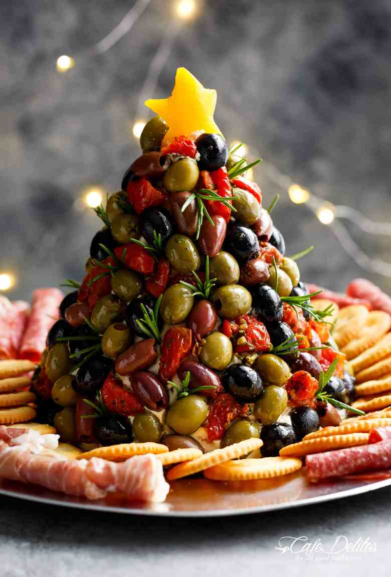 Antipasto Cheese Ball Christmas Tree