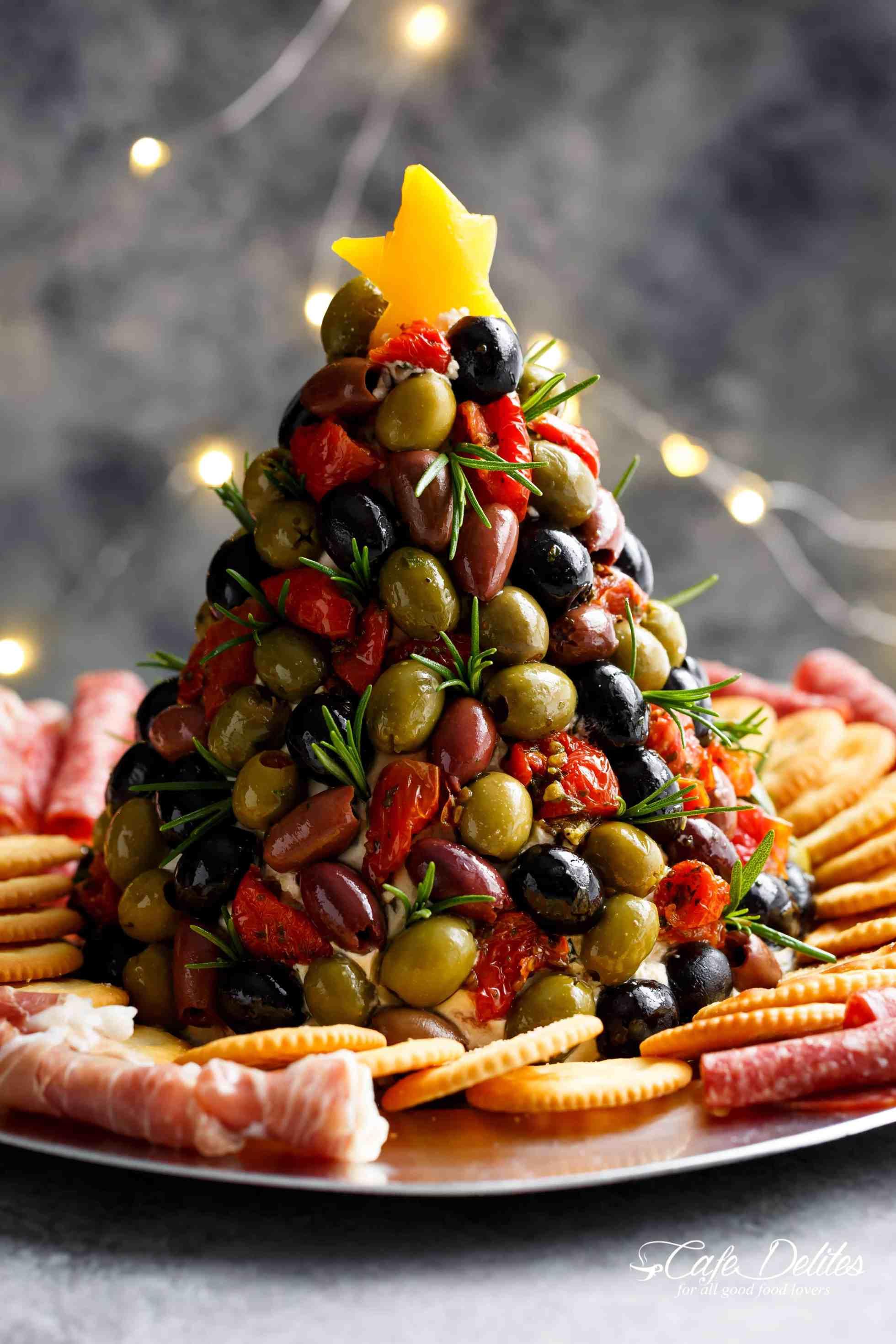 Antipasto grazing platter in shape of Christmas tree