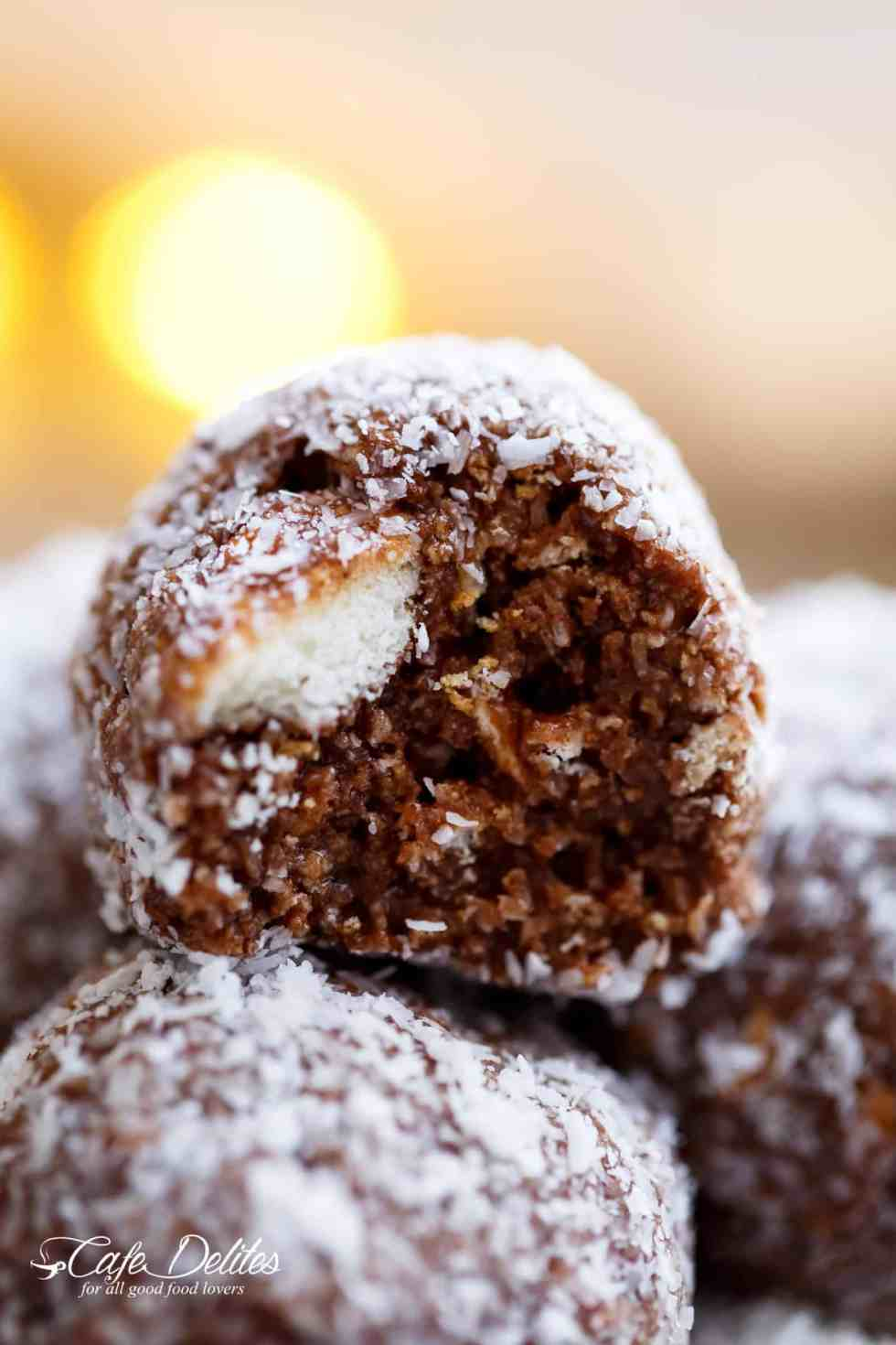Easy Chocolate Coconut Balls are the easiest 4-Ingredient Christmas treat! | cafedelites.com