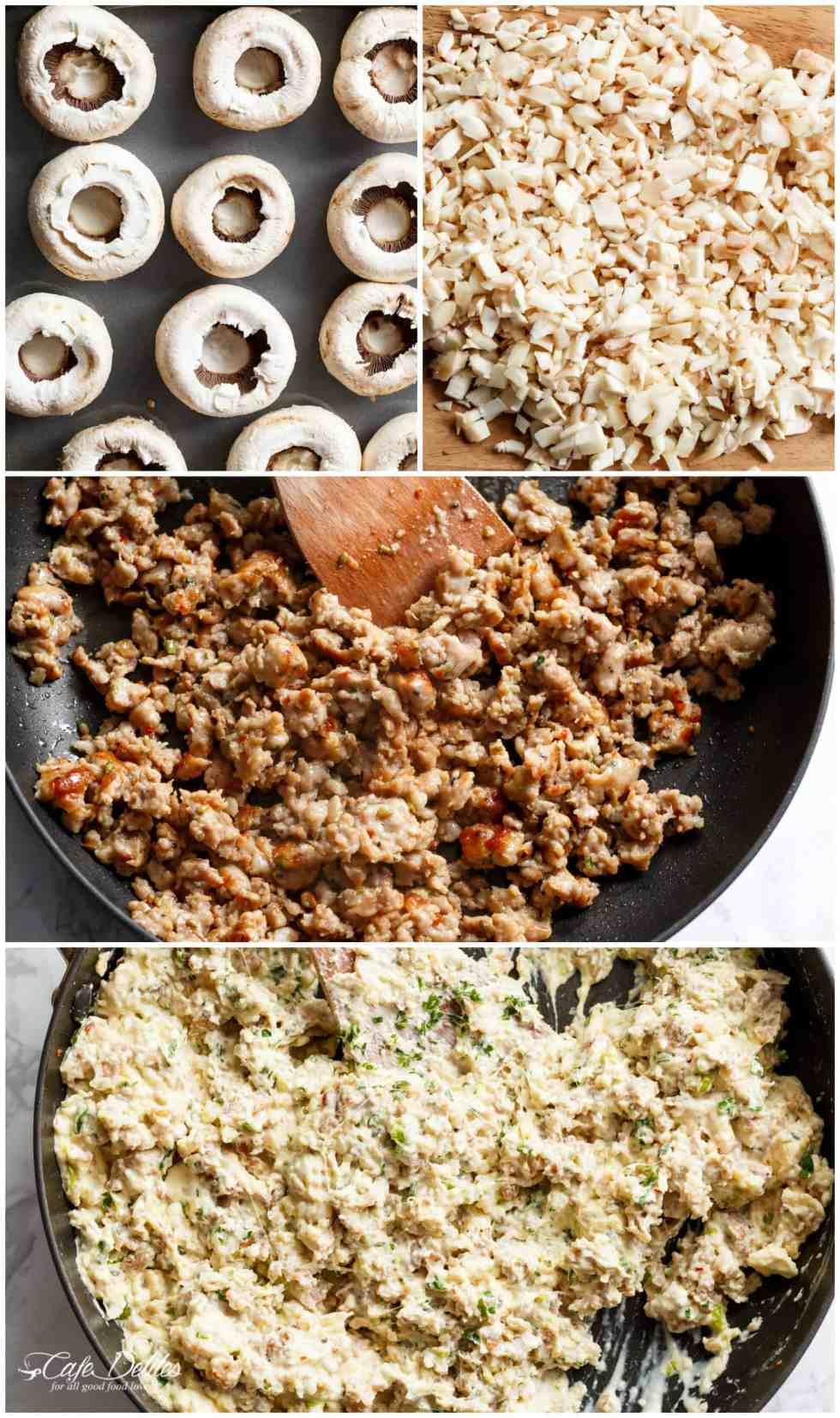 How To Make Sausage Cream Cheese Dip Stuffed Mushrooms!   cafedelites.com