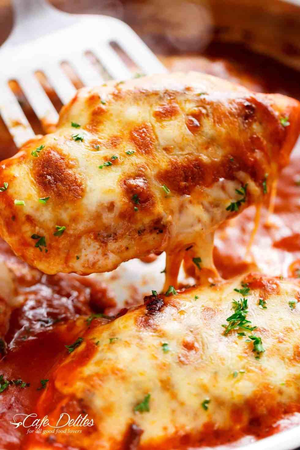 Easy Mozzarella Chicken Recipe Low Carb Chicken Parm Cafe Delites
