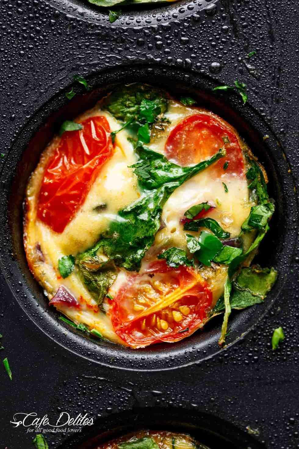 Spinach Tomato & Mozzarella Breakfast Egg Muffins | cafedelites.com