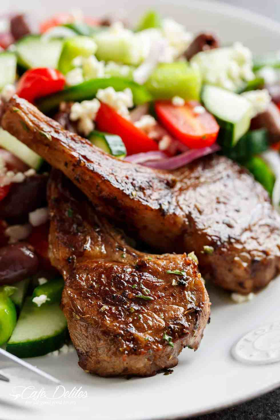 Lamb Chops And Greek Salad | cafedelites.com