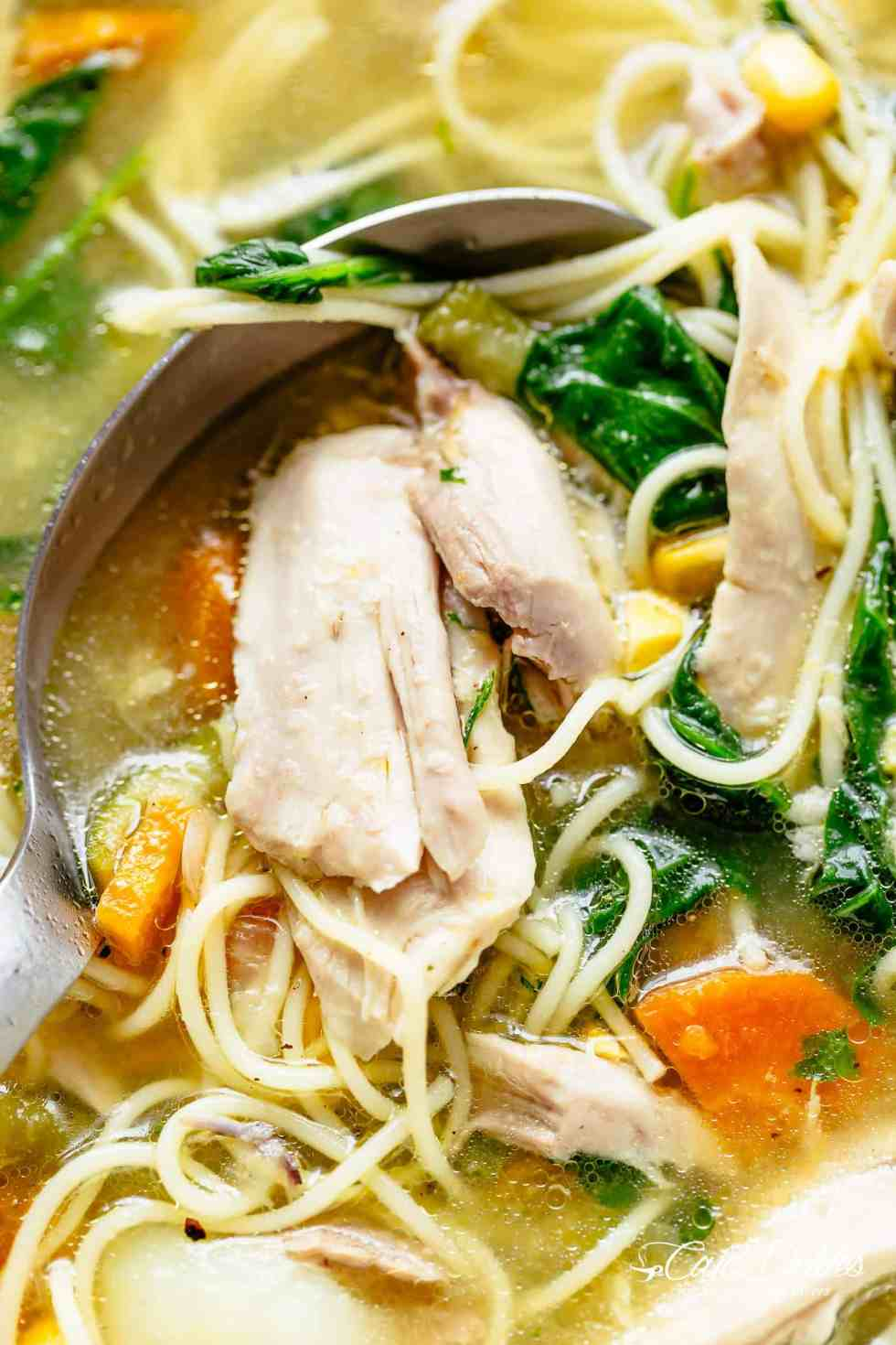 Homemade Chicken Noodle Soup is perfect for any day of the week with the broth AND the soup made from scratch in under 45 minutes. | cafedelites.com