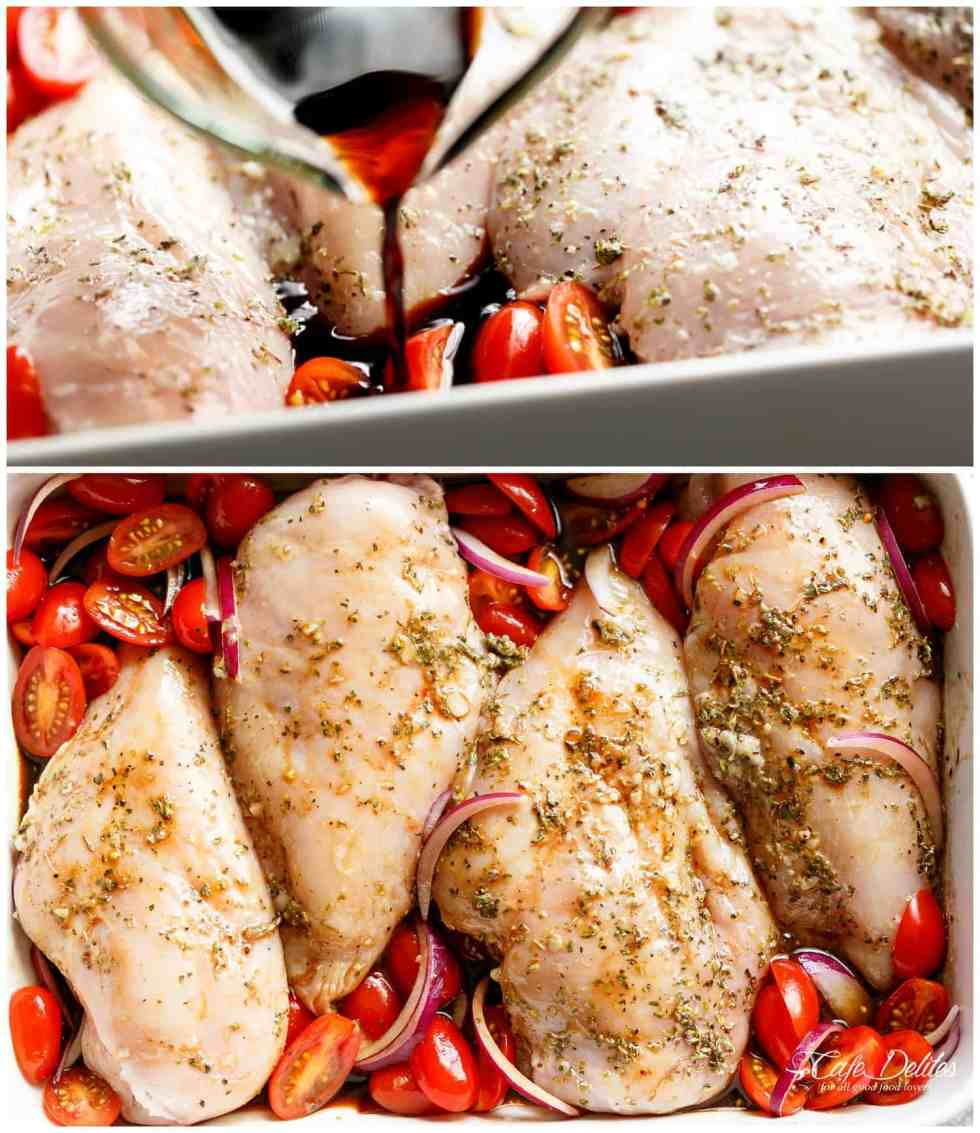 How To Make Balsamic Baked Chicken Breasts | https://cafedelites.com