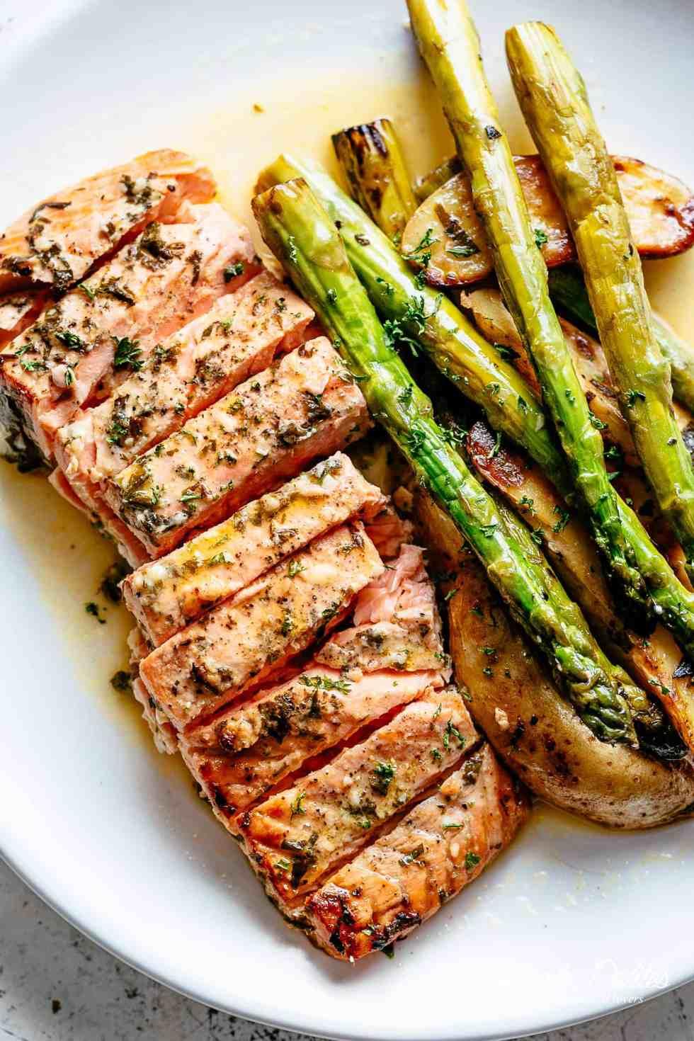 Sheet Pan Garlic Butter Baked Salmon Cafe Delites