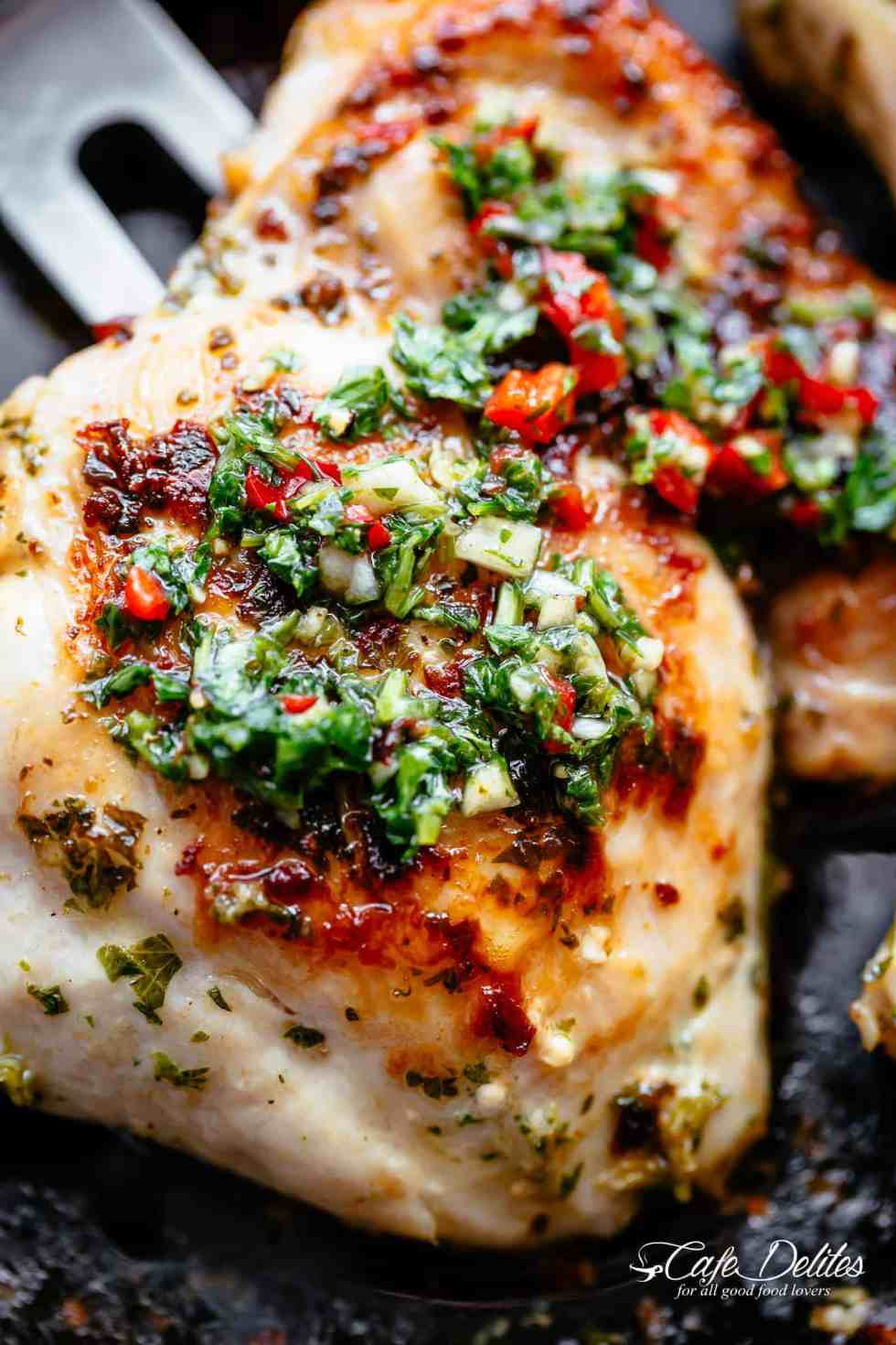 The Best Chimichurri Chicken is ready in minutes!   cafedelites.com