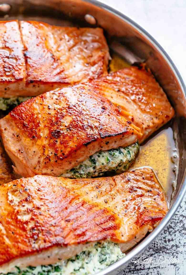 Creamy Spinach Stuffed Salmon in Garlic Butter