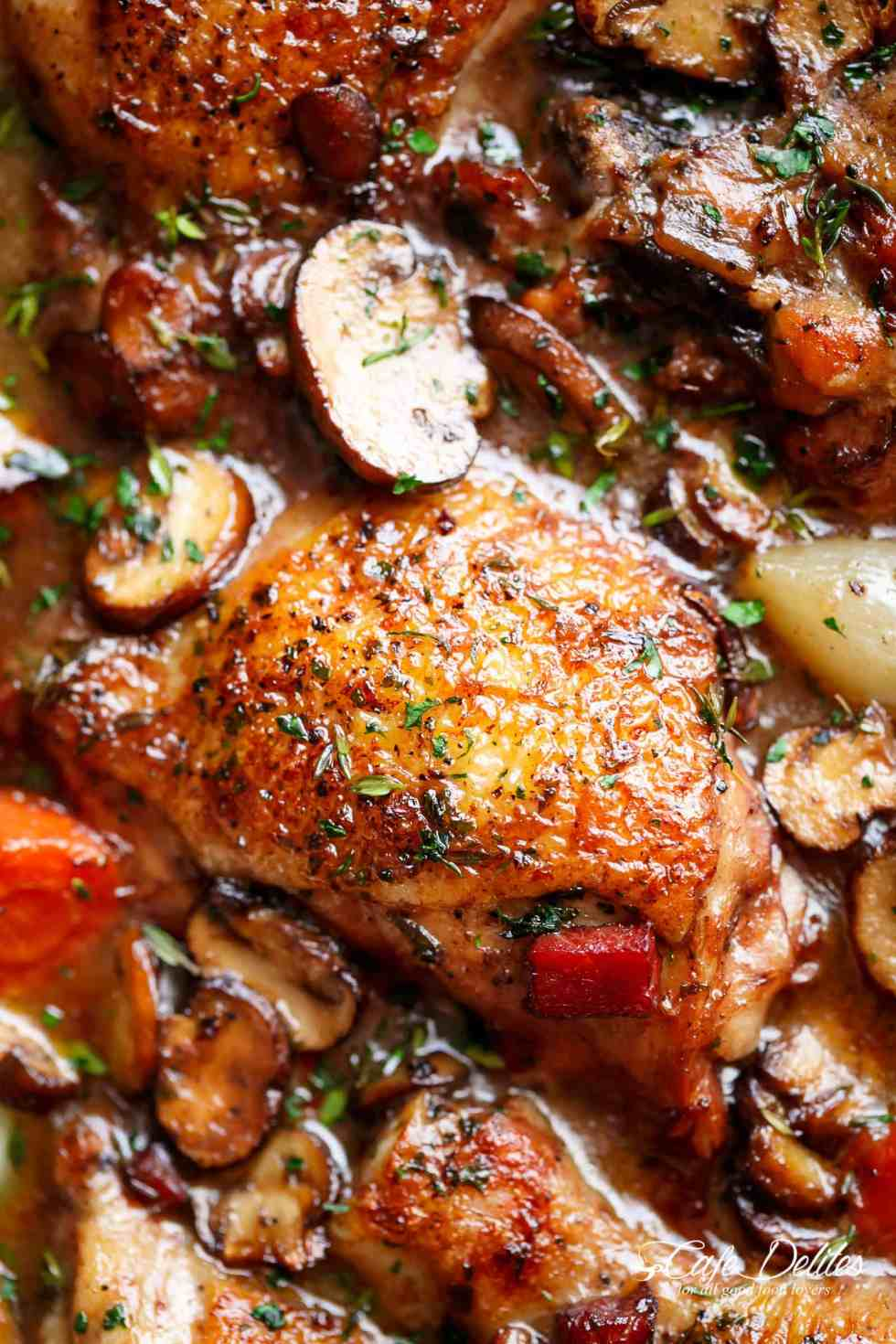 Coq Au Vin is the most delicious chicken dinner! | cafedelites.com