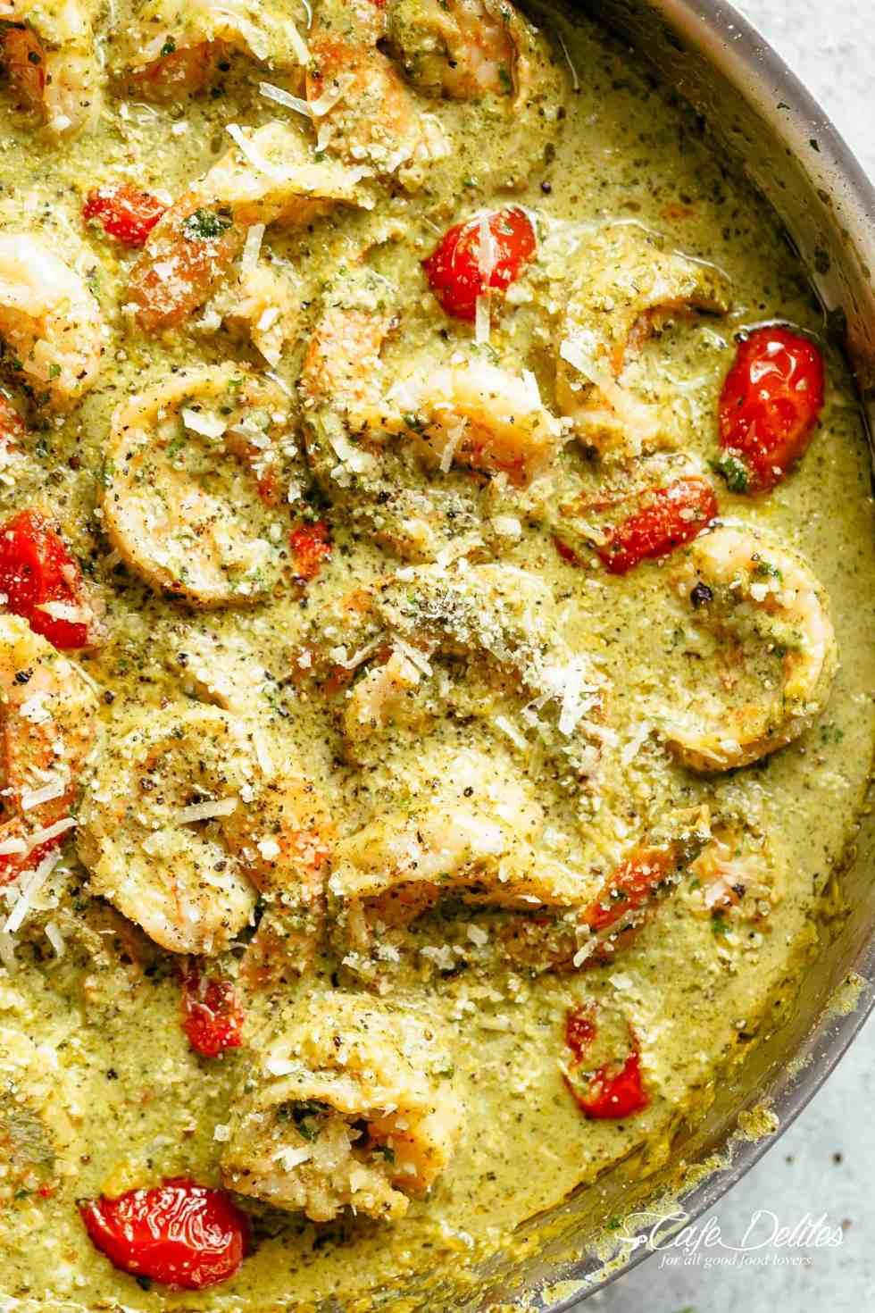 Creamy Pesto Shrimp Alfredo | cafedelites.com