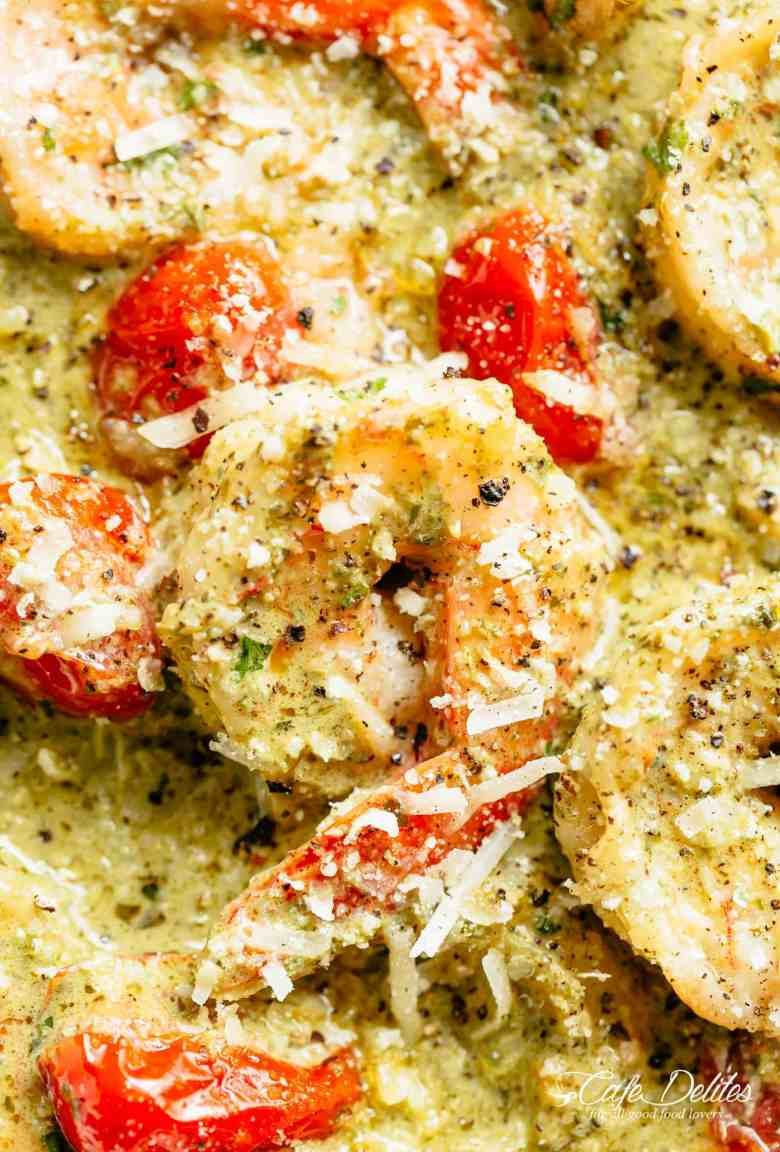 Creamy Pesto Shrimp Alfredo