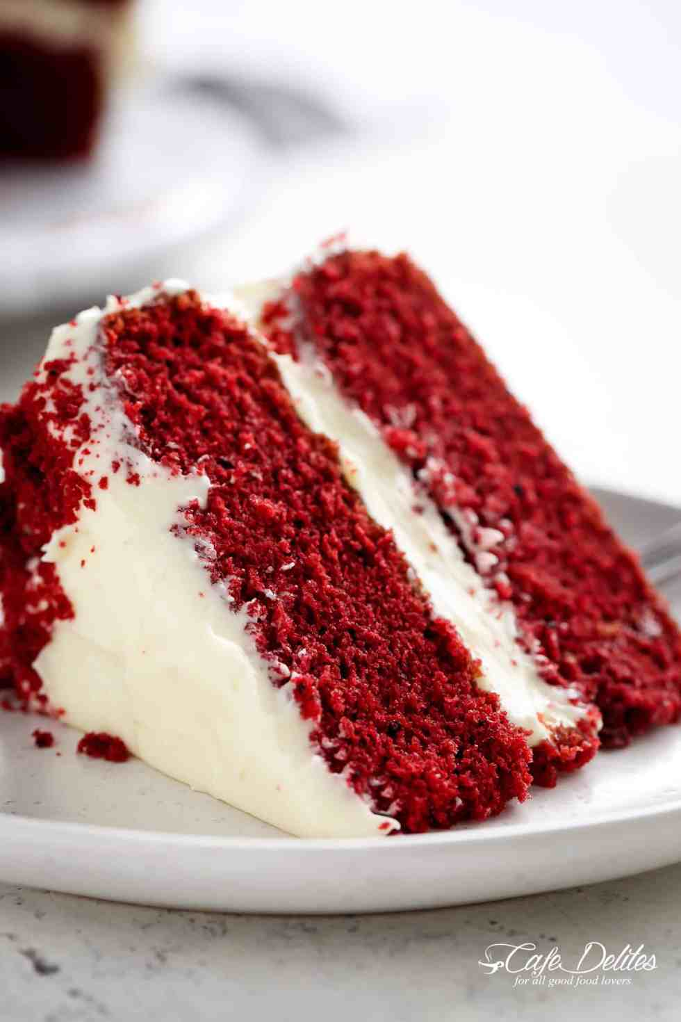 A slice of red velvet cake | cafedelites.com