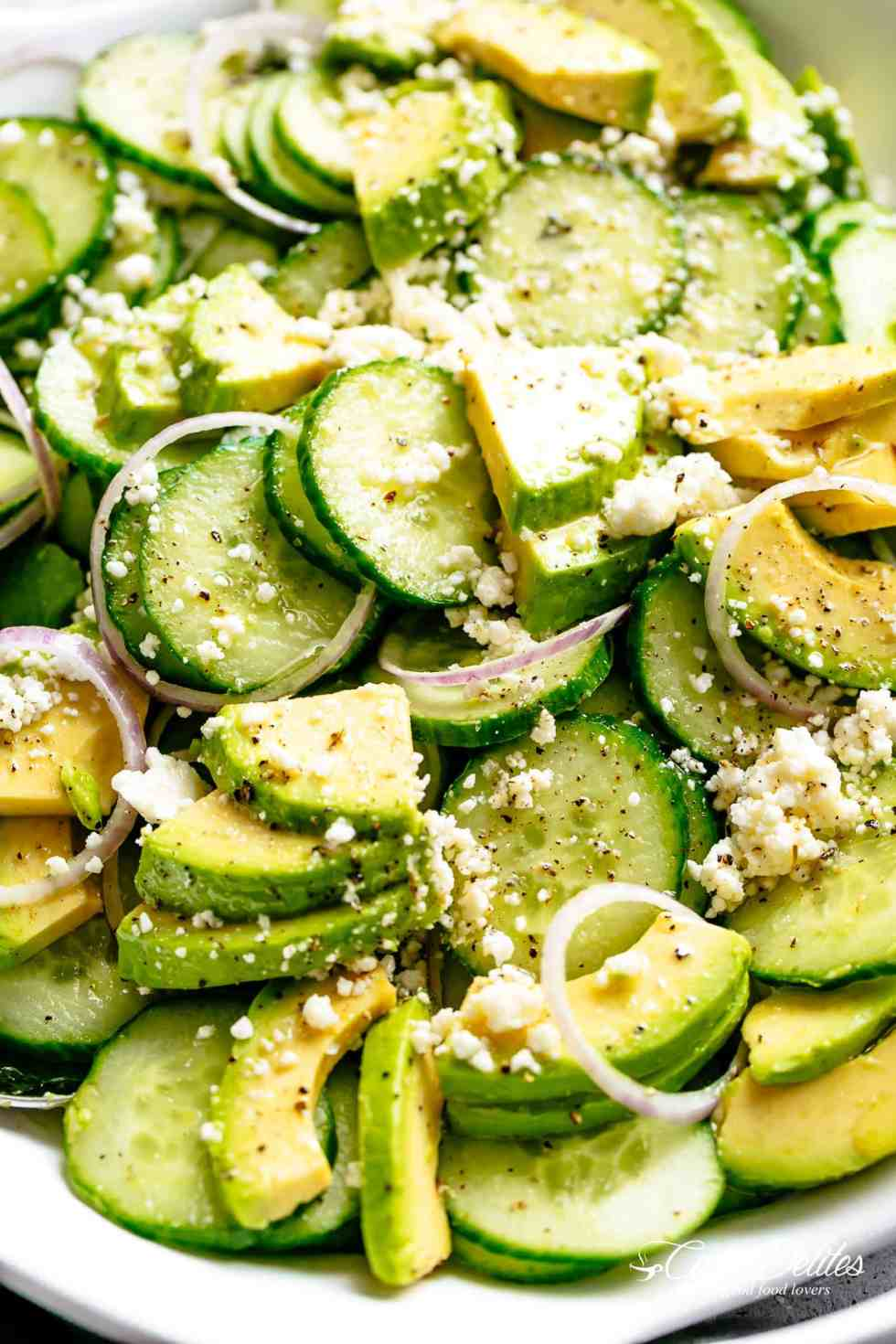 Avocado Feta Cucumber Salad with a delicious Greek inspired salad dressing or vinaigrette! | cafedelites.com
