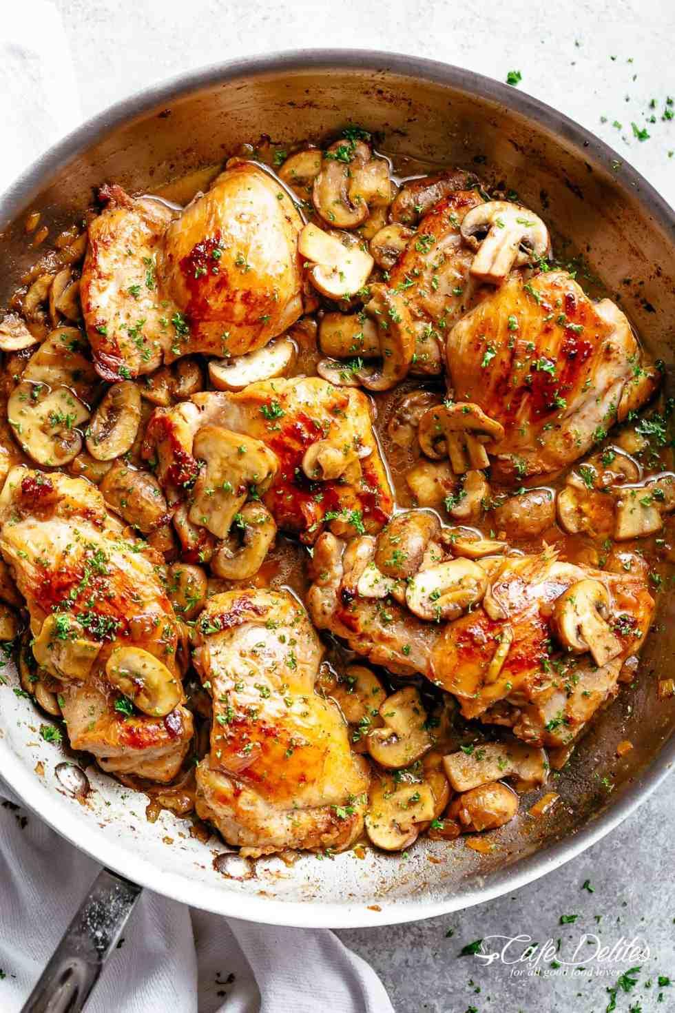 Garlic Mushroom Chicken Thighs Cafe Delites