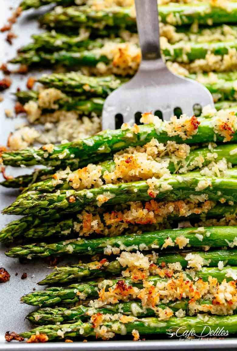 Crispy Parmesan Asparagus with Garlic Butter