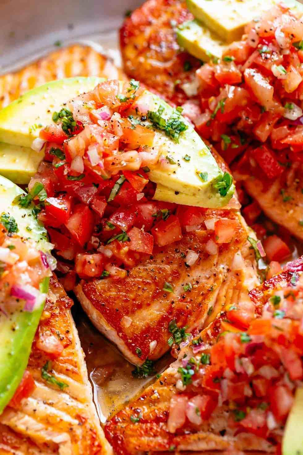 Pan Seared Salmon with tomato salsa and avocado!   cafedelites.com