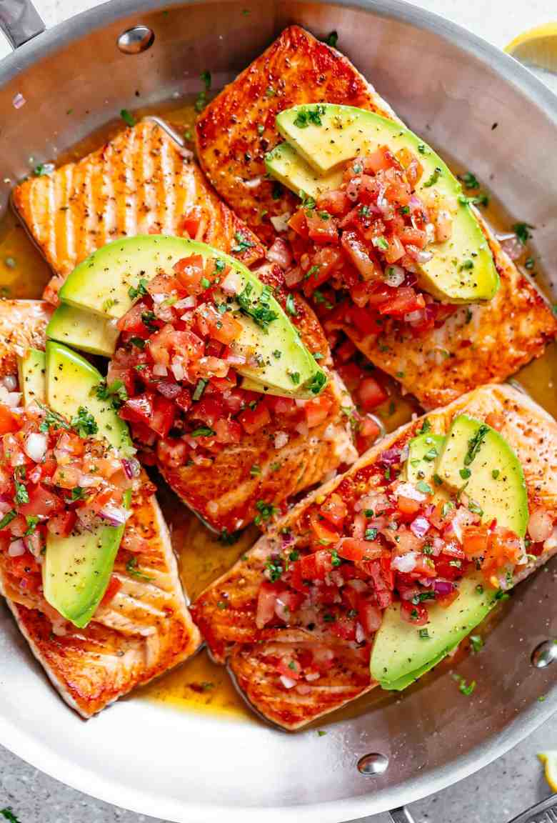 Seared Salmon with Avocado Tomato Salsa