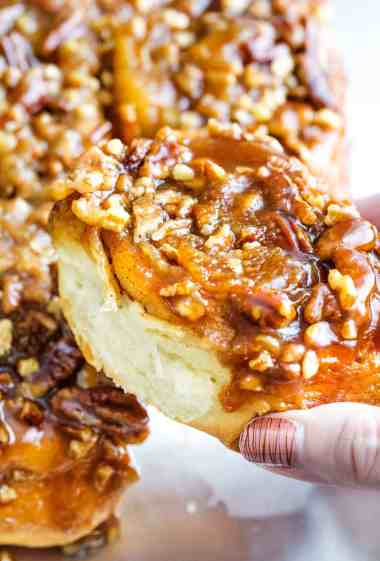 These maple pecan sticky buns perfect a cold morning or for a holiday breakfast.Soft, sweet and sticky, these buns are so much fun to make! | cafedelites.com