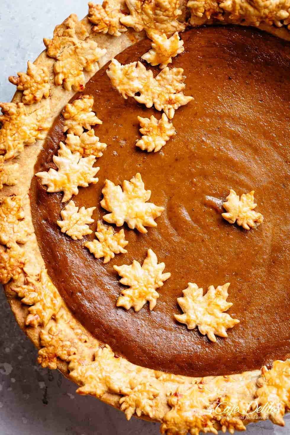 Homemade Pumpkin Pie Recipe tastes incredible filled with fall flavours for Thanksgiving! Canned or fresh pumpkin puree with cream (or evaporated milk), brown sugar(s), white sugar, eggs and delicious fall spices.