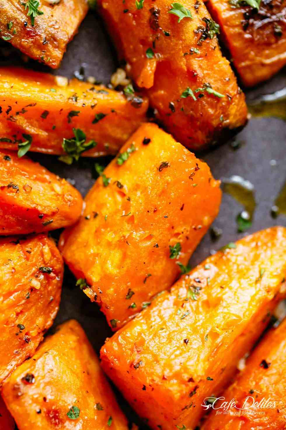 Roasted Sweet Potatoes with garlic, herbs and olive oil.