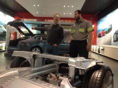 "John ""Plasma Boy"" Wayland and Gaylen at the Tesla Showroom"