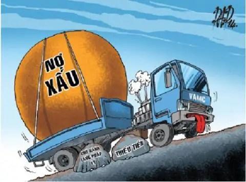 Tranh biếm họa về nợ xấu của hệ thống ngân hàng thương mại Việt Nam.