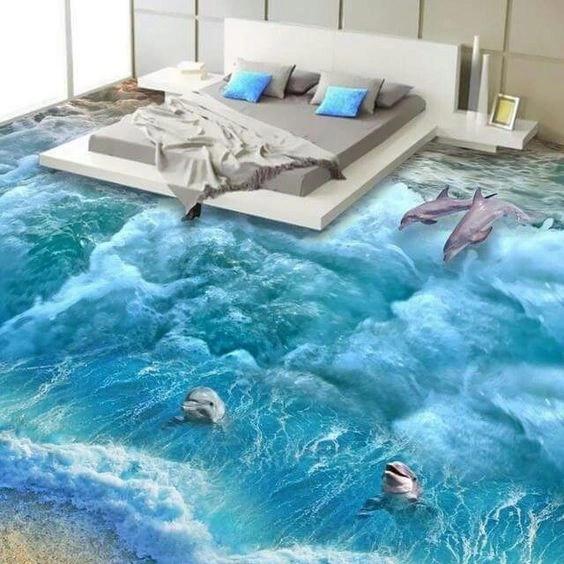 Hình ảnh được tạo thành từ công nghệ sàn 3D thường là khung cảnh thiên nhiên, là đại dương bao la với cát, nước, đàn cá, san hô...