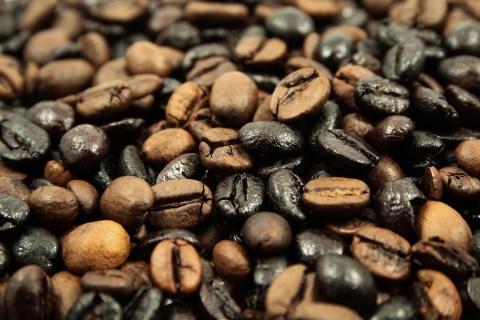 Dark brown coffee beans