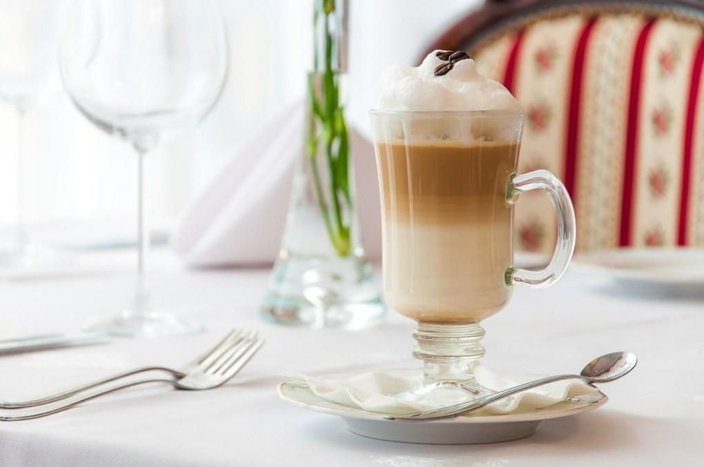 Cup of melange with milk foam