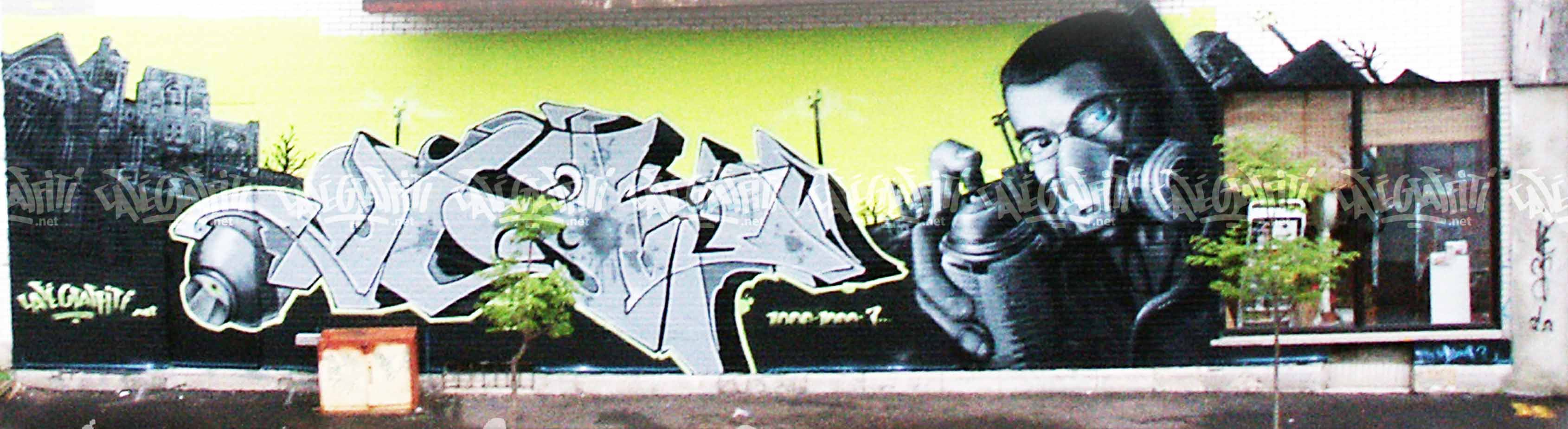murales cafe graffiti. Black Bedroom Furniture Sets. Home Design Ideas