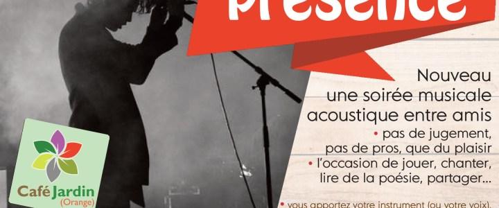 """PRESENCE"" – soirée musicale – samedi 13 avril"