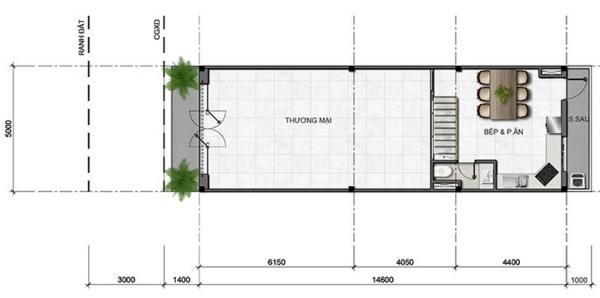 Mặt bằng tầng điển hình (tầng trệt) căn shophouse tại dự án Văn Hoa tỉnh Đồng Nai
