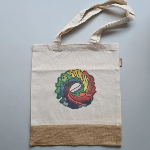 Flat lay of Cafe Moly Eco Bag. Made from upcycled coffee sacks.