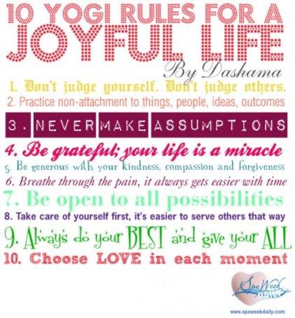 10 Yogi Rules For a Joyful Life