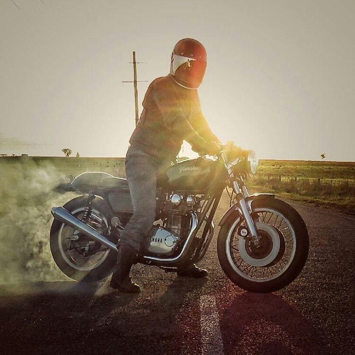 By @_caffeineandgasoline_ -  Smoke 'em if you got 'em Saturday,...... Or fry 'em Friday if you're a bit behind,..... . #caferacer #caferacers #caferacersofinstagram #caferacersculture #caferacerbuilds #vintage #vintagestyle #vintagefashion #motocycle #moto #motos #motorcycles #oldstyle #oldschool #bratstyle #motorbike #motor #helmet