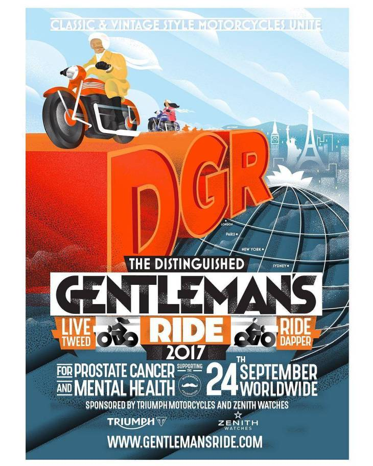 By @gentlemansride – Time for the DGR 2017 poster reveal!  Register now and dapper up upon your classic and vintage style motorcycle, Sunday September 24th at gentlemansride.com  Create your fundraising profile to help us raise funds and awareness for prostate cancer and men's mental health on behalf of charity partner the @movember.  Registered riders will unlock their local ride details and be in the running for amazing rewards from @officialtriumph, @zenithwatches, @hedonworkshop and more.  Inspired by Cassandre and Riccobaldi, a special thank you is in order to @likemindedstudio for a poster design that we're very proud of.