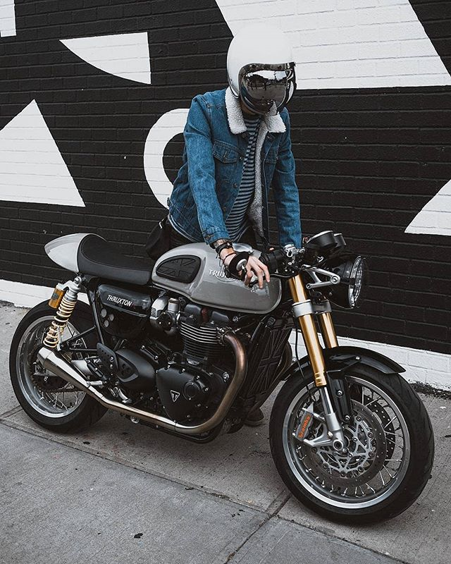 @thruxtonboys with his Triumph Bonneville