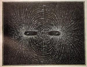 Espectro magnético. Distribución de la limadura de hierro en un imán