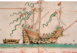 Illustration of the Mary Rose from the Anthony Roll