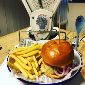 Velo Classic Cheeseburger. served in a brooch bun with french fries, it's a real treat !!!