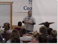 Speaking at high school retreat at Cooperstown Bible Camp in North Dakota.
