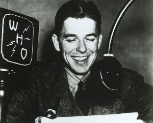 Ronald Reagan at WHO-Radio Microphone in Des Moines