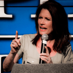 Michele Bachmann at Last Tea Party Bus Tour Rally in Des Moines