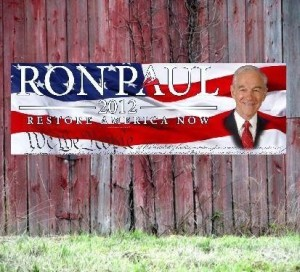 Bumper Sticker Collage with Ron Paul seen in the middle of a flag